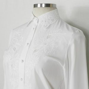 Vintage   Flower Embroidered Open Lace Blouse